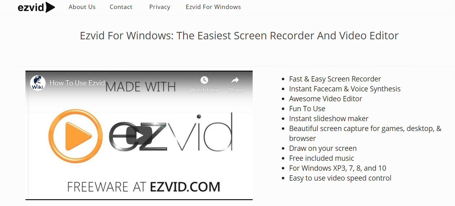 EzVid - Screen Recorder Software For Windows