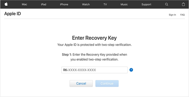 Reset Apple ID Password : Have Two-step Verification Enabled
