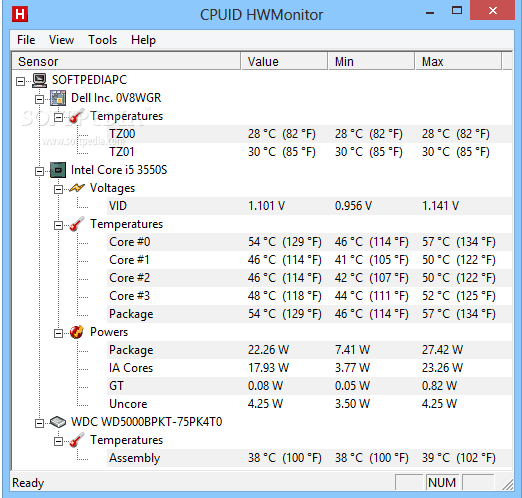 HWMonitor - Windows CPU Temperature Monitor Tool