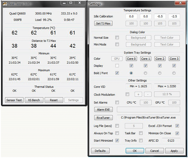 Real Temp - PC Temperature Monitor Tools