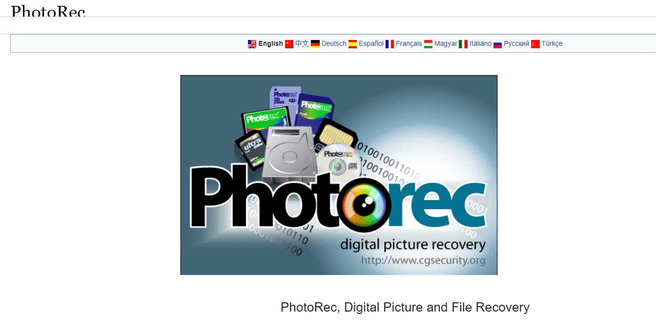 Photorec - Windows Data Recovery Software