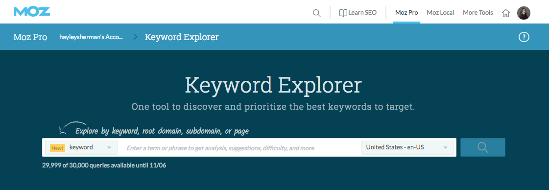Keyword Explorer by Moz