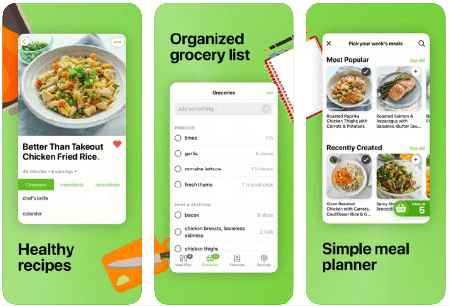 Mealime- Meal Planner, Recipes & Grocery List