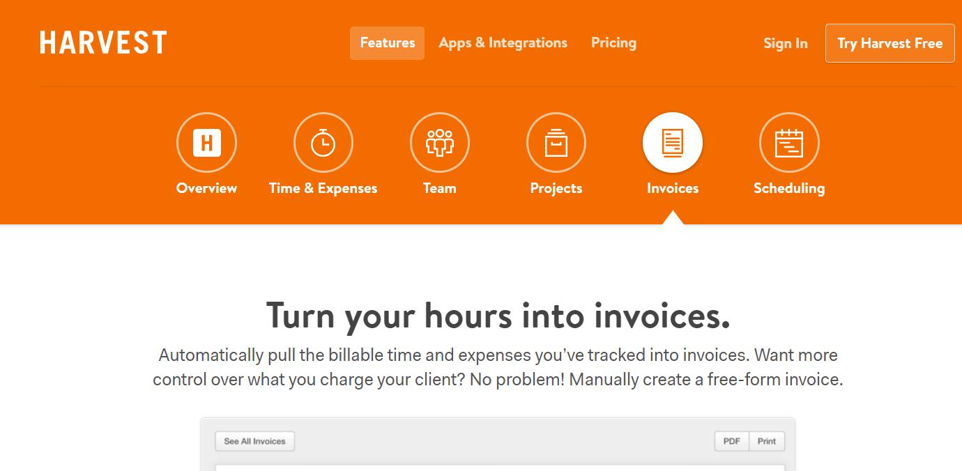 Harvest - Best Invoice Generator Software