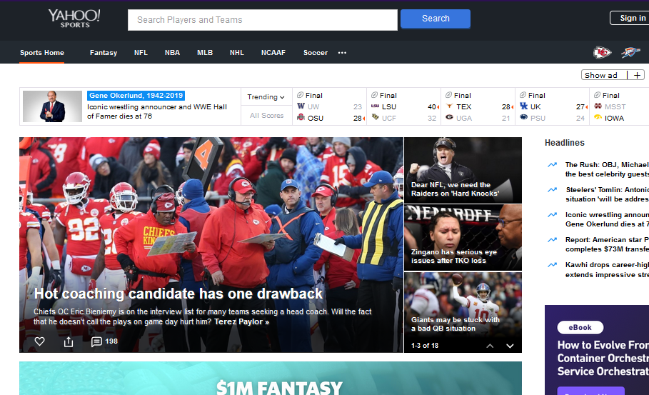 Yahoo Sports - Best Live Sports Streaming Site