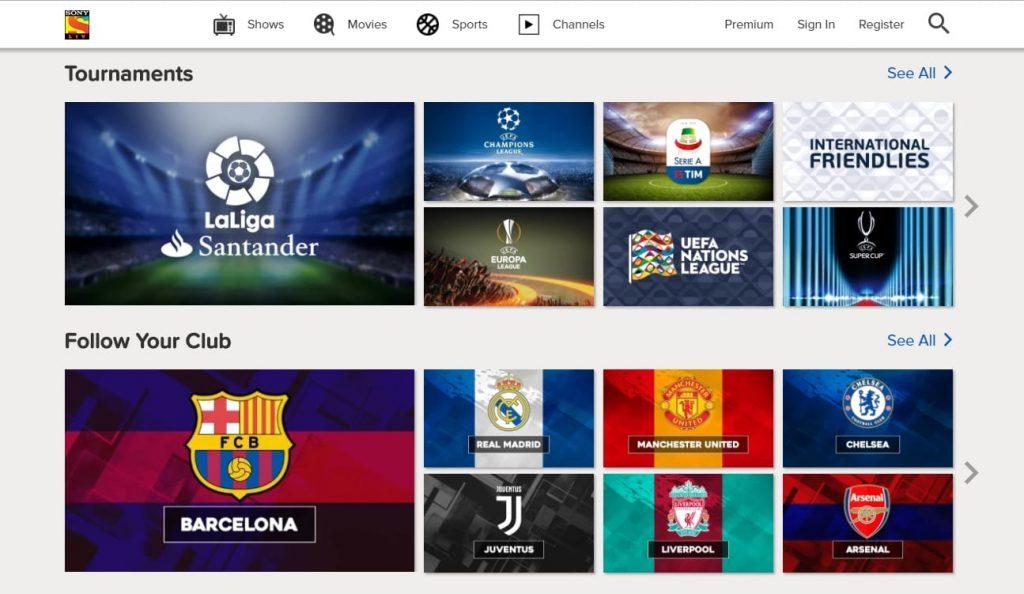 SonyLIV - Sports Streaming Site