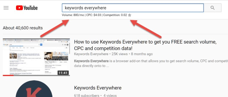 Keywords Everywhere Tool For YouTube Keyword Research