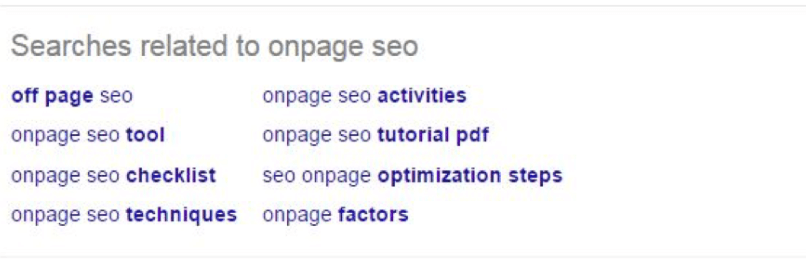google related search for lsi keywords