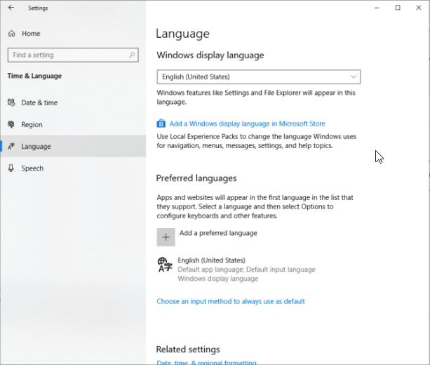 default system UI language
