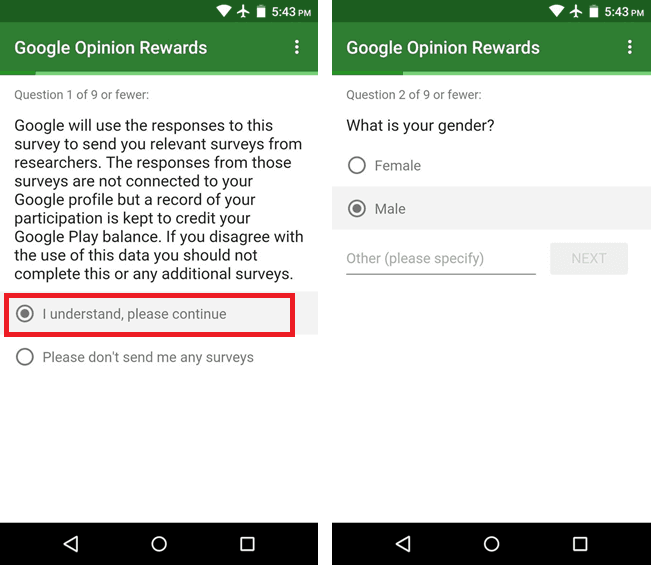 Use of Google opinion reward