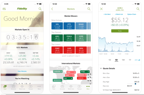 Fidelity Investments App for Stock Investments