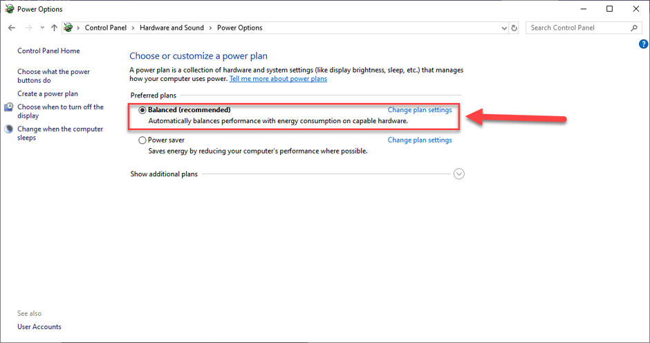Reset Power Management Settings