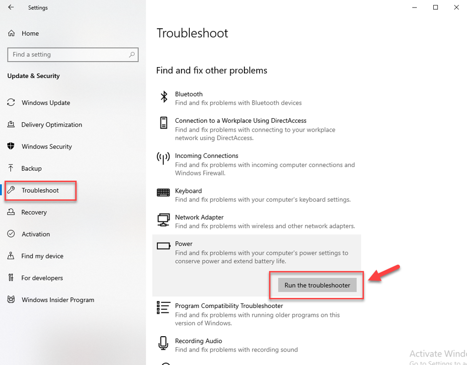 Click on Run the Troubleshooter option