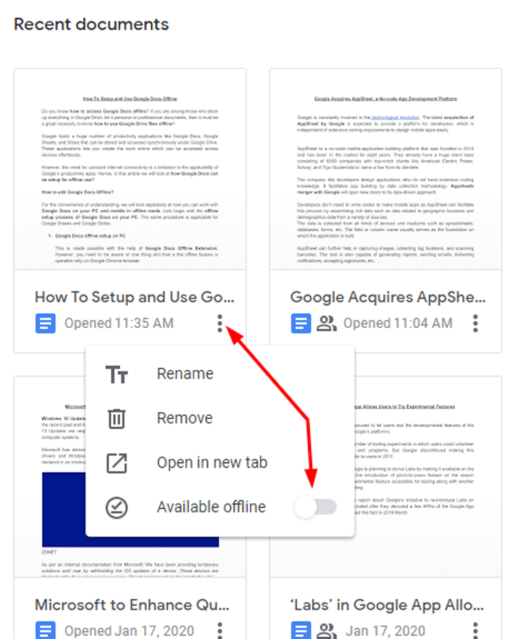 Available Google Docs in Offline Mode
