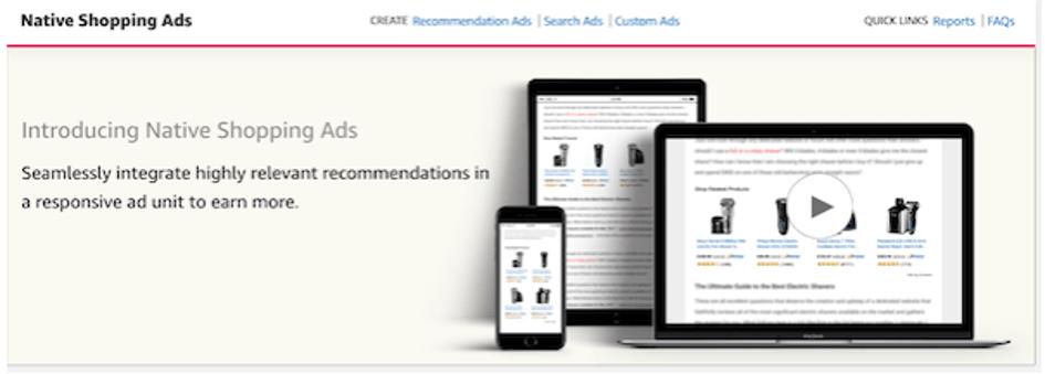 Amazon Associates - Native Shopping Ads