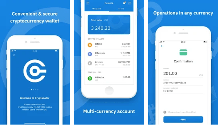 Cryptonator Cryptocurrency Wallet