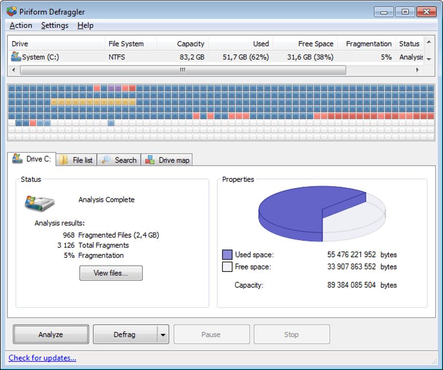Defraggler - Disk Defragmenter Software