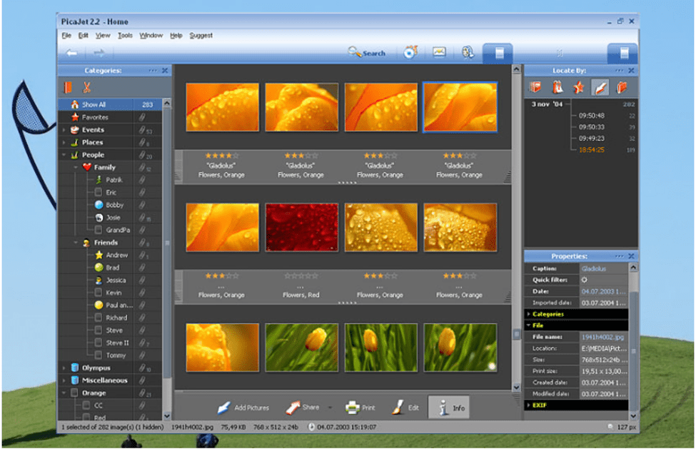PicaJet Digital Photo Management to organize your photo gallery