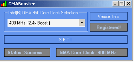 GMA Booster - Overclocking Software