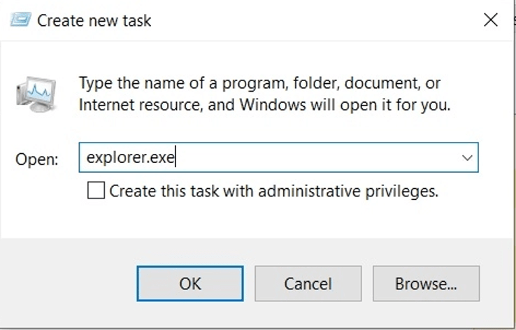 Select Run New Task and Enter explorer.exe