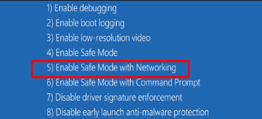 Enable Safe Mode with Networking