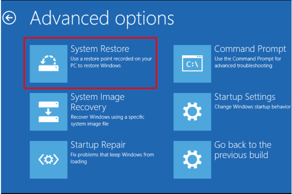 Use System Restore To Fox Black Screen Problem