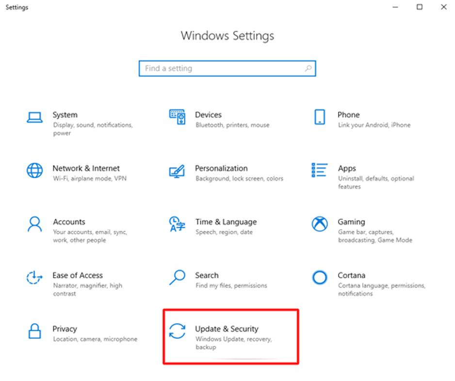 Navigate The Segment 'Update & Security'