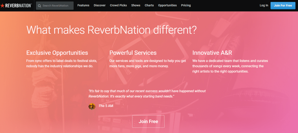 ReverbNation - Best Free Music Download Sites