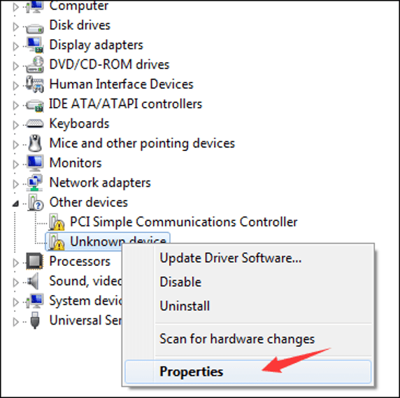 Go to the Device Manager and right-click on the Unknown Device