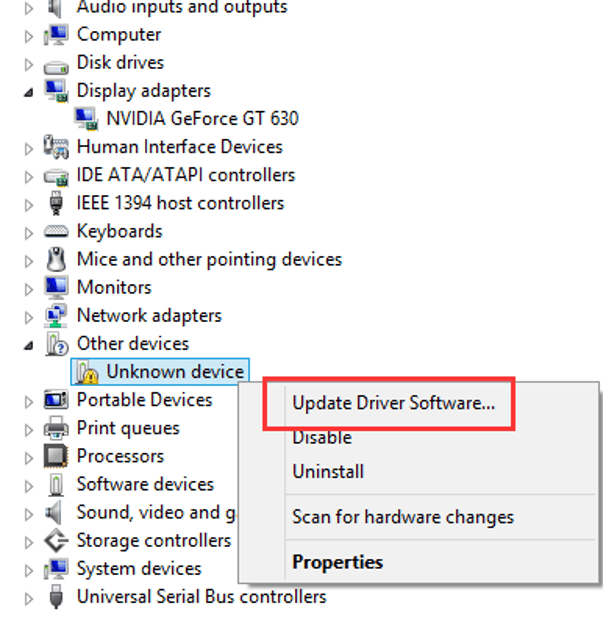 Choose Update Driver Software Option