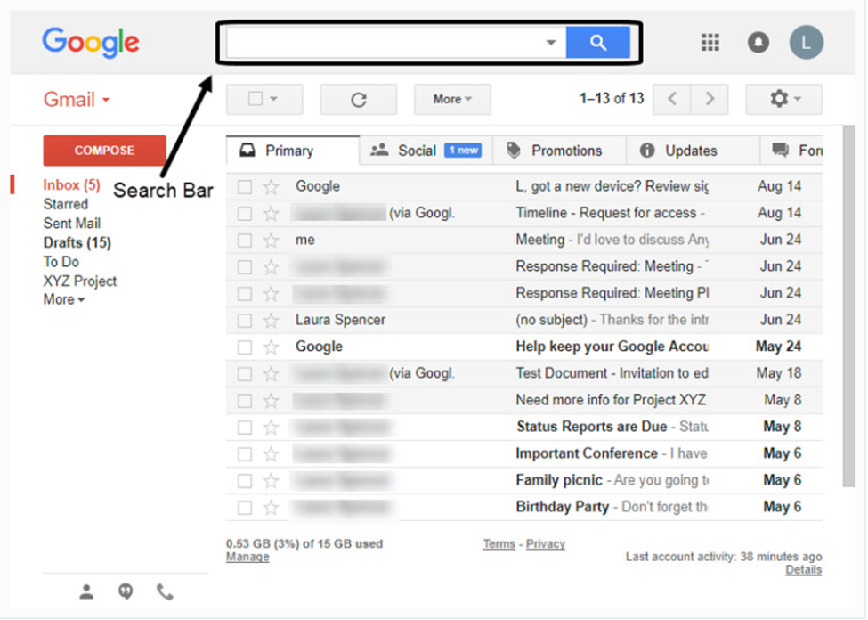 Open Your Gmail Account and Look Out For the Search Box