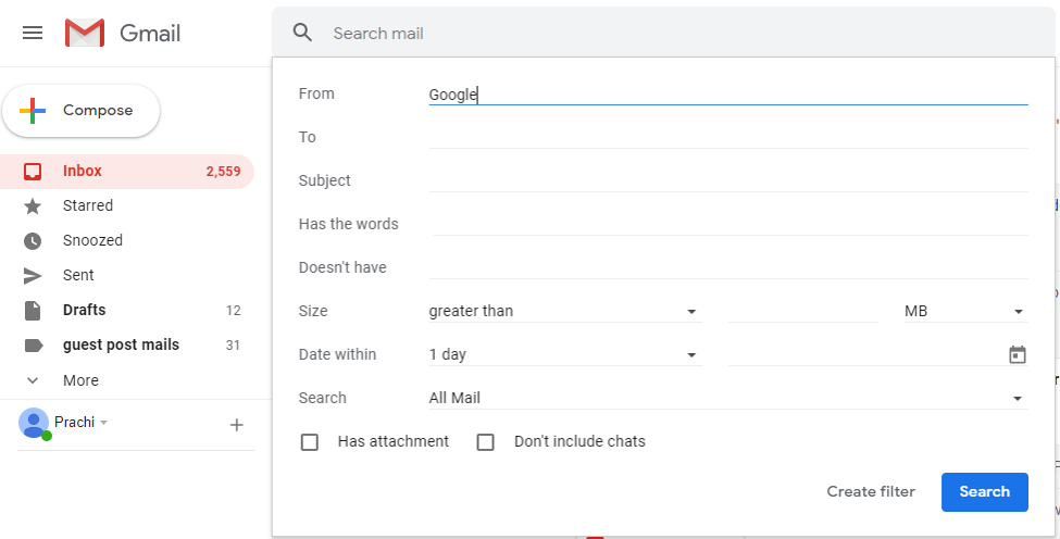 Search For Mail Received From Google