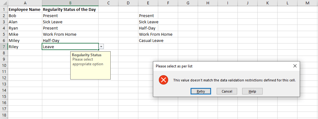 Example of Creating a Drop Down List in Excel