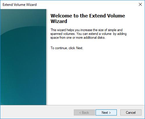 Extend Volume Wizard