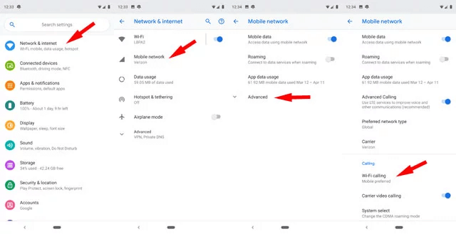 Enable WiFi Calling on Android