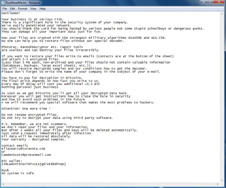 Ryuk Ransomware - Latest Computer Virus