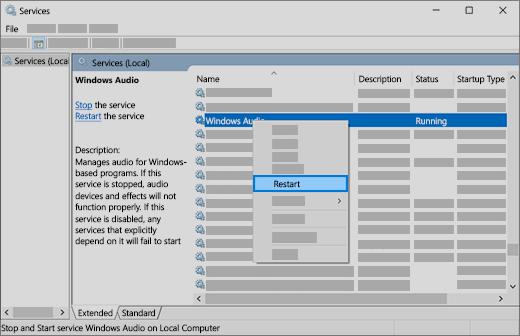 Restart Audio Services to Fix The Sound Issue in Windows 10 PC
