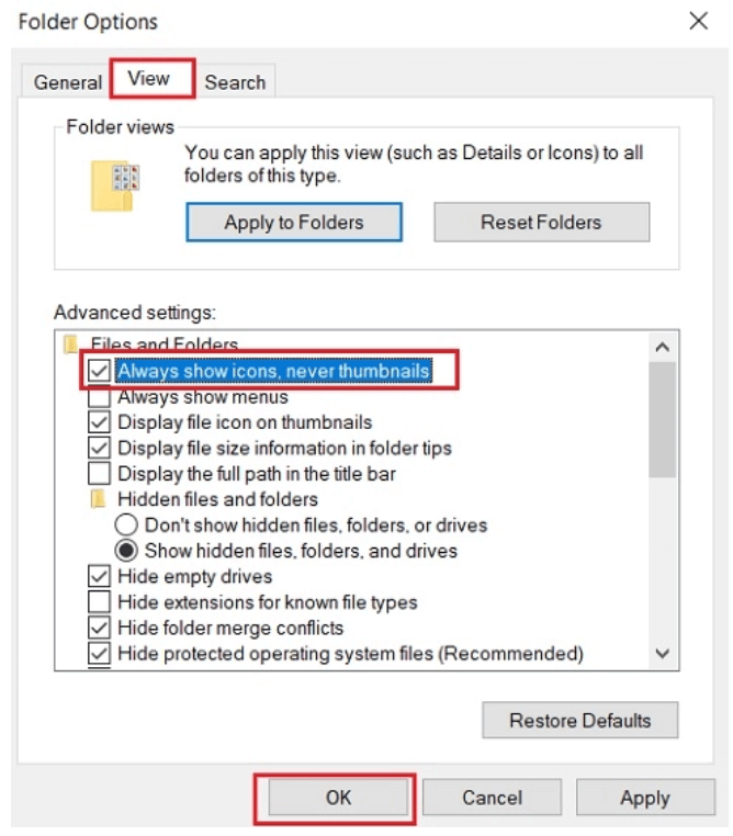 Select the View tab & then Check Mark For Fixes Zerp Day Vulnerability in Windows