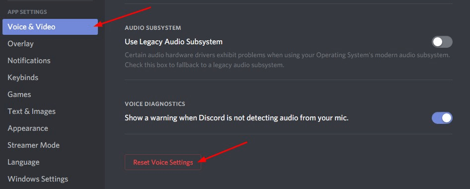 Reset Voice Settings to Fix Discord Mic not Working