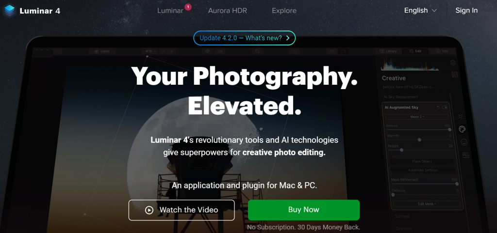Skylum Luminar 4 - Best Mac Photo Editing Apps and Software