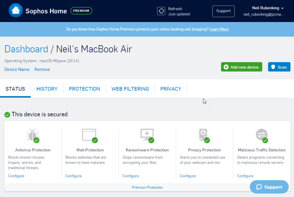 Sophos Home Premium - Best Antivirus Software for Mac