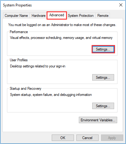 Under the Advanced tab, click the Settings button to Reset Virtual Memory
