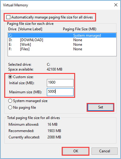 Reset Virtual Memory to Fix Windows 10 100% Disk Usage Error