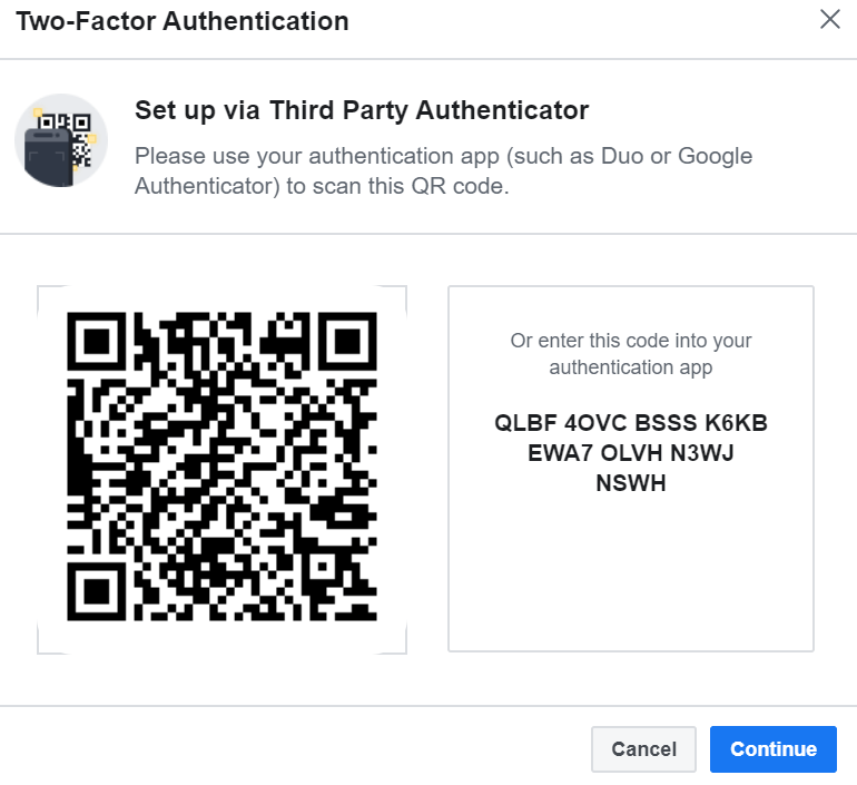 Scan the QR code or enter the code in your Google authentication app