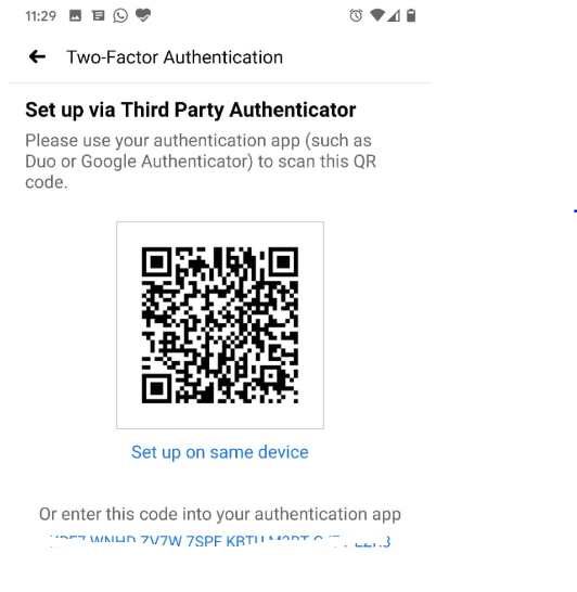 Choose to use the Authentication app