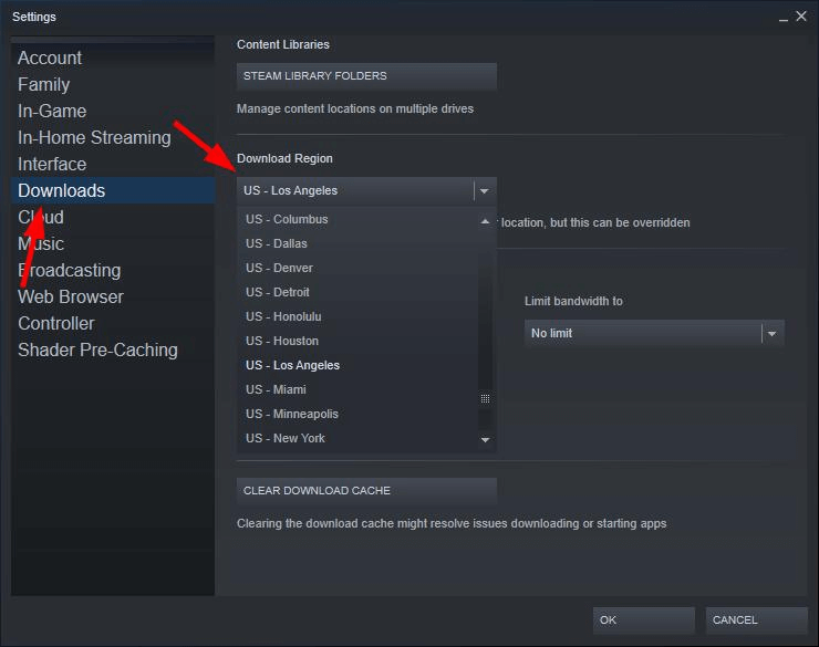 Change Content Servers For Steam Game Download Faster