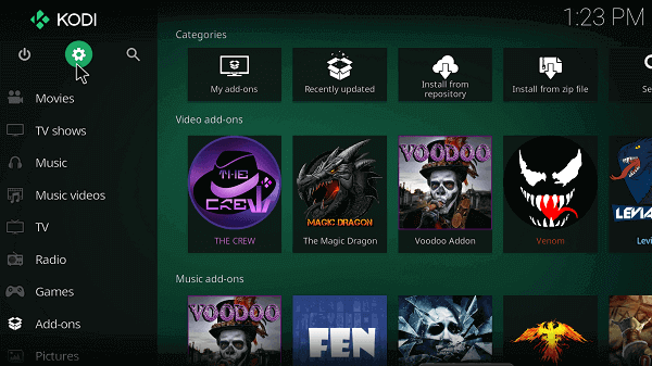 Open Kodi and go to the Settings icon situated at the top
