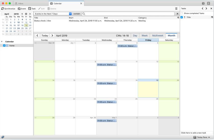 Thunderbird Lightning Calendar App For Windows