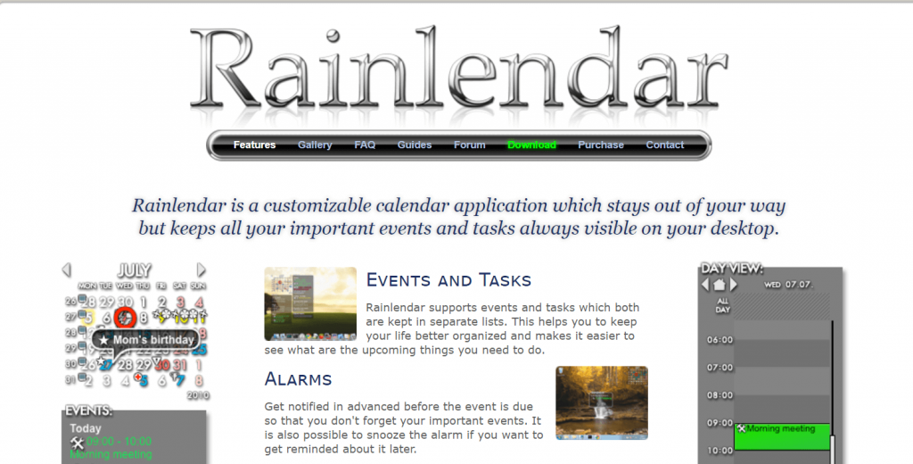 Rainlendar - Best Calendar Apps For Windows