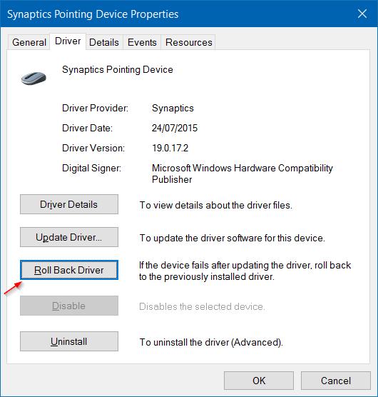 Cuộn ngược về phiên bản trình điều khiển trước để sửa lỗi Touchpad của Asus không hoạt động